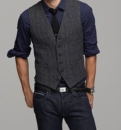 Smart casual, easy to do with jeans and a waistcoat/belt.