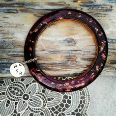 Personalised jewelry gift. Purple resin gold flakes bangle handmade by PAGANE uniques