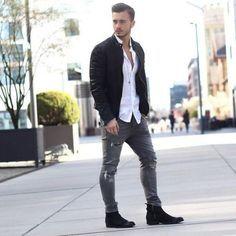 Como Usar Calça de Moletom Masculino com Jaqueta de Couro