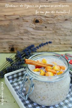 Tapioca pudding with peaches and cinnamon. And a bit of lavender :) Recipe is available with translator. Tapioca Pudding, Raw Vegan, Cinnamon, Lavender, Peaches, Recipes, Food, Pie, Canela