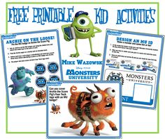 FREE: Printable Monsters University Activities