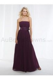 Chiffon Strapless Asymmetrically Ruched Bodice A-line Bridesmaids Dress
