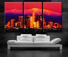 LARGE 30x 60 3 Panels Art Canvas Print beautiful Los by BoxColors