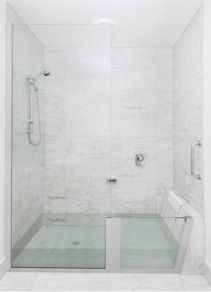 A great idea for a small bathroom. Not only is it dual purpose allowing it to be used as either a shower or a bath-tub, but it is also disability friendly. In addition to the sophisticated look, the clear glass also visually creates a sense of more space.