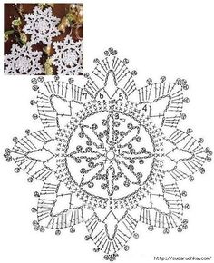 110 crochet snowflakes, free pattern, diagram