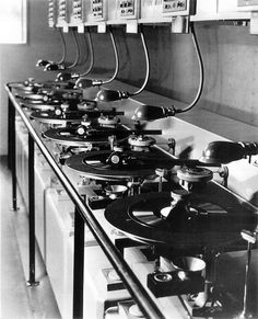 The convoluted disc dubbing equipment used at Warners in Burbank in 1930.