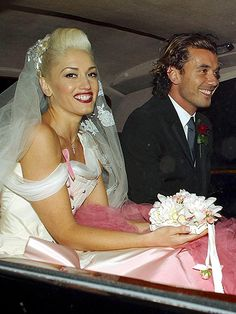 Wowsers look at Gwen Stefani in her pink Galliano wedding dress - divine! It probably raised a few eyebrows back in 2002, what with it being pink 'n' all that, but we're well down with coloured wedding dresses now. But not black, still not quite down with that one...   - Cosmopolitan.co.uk