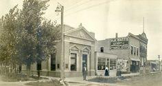 Custer County. Street scene of Broken Bow, NE focusing on Custer national bank, early 1900s.