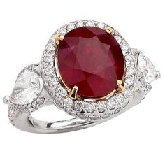 8.54 Carat Mozambique Ruby Diamond Gold Ring | From a unique collection of vintage fashion rings at https://www.1stdibs.com/jewelry/rings/fashion-rings/