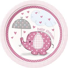 Nouvelle collection Baby Shower Rose : Petit Eléphant Rose sur Mybbshower disponible en ballons, banderole baby shower, décoration de table, invitation et vaisselle jetable