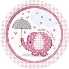 Nouvelle collection Baby Shower Rose : Petit Eléphant Rose sur Mybbshower disponible en ballons, banderole baby shower, décoration de table, invitation et vaisselle jetable