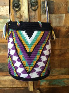OOAK Mini Mochila bag Wayuu technique tapestry by creaconlemani