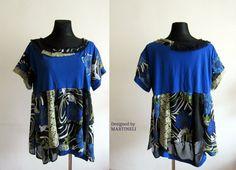 Blue Boho TshirtTunic, Recycled Clothes, Recycled Tunic, Gypsy Hippie Tunic,Recycled Top,Tshirt Recycled, Boho Top, Patchwork Top,Hippie Top