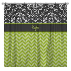 Chevron Shower Curtain Lime Green with Gray Damask.  Personalize it with Name or Initials!