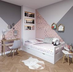 43 cute and girly bedroom decorating tips for girl 14 Bedroom Decoration girls bedroom decor ideas Girl Bedroom Walls, Girl Bedroom Designs, White Bedroom, Girls Bedroom Colors, Pink Bedrooms, Ikea Bedroom, Wood Bedroom, Girls Bedroom Ideas Paint, Small Childrens Bedroom Ideas
