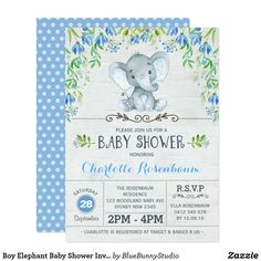 Boy Elephant Baby Shower Invitation Blue Floral Custom Baby Shower Invitations, Baby Shower Invitation Cards, Baby Shower Invites For Girl, Baby Boy Shower, Sprinkle Invitations, Baby Invitations, Baby Shower Invitaciones, Jamel, Elephant Baby Showers