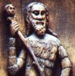 anyone know where who what? club-like marotte and rather Wild Man- or wodewose- looking fool! Context seems to imply French. I'm assuming carved wood. Sully-sur-Loire is a town in central France...