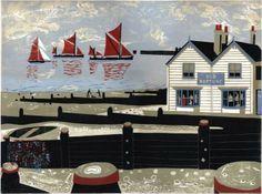 Oyster Smack & Thames barges approaching Whitstable harbour Lino print x Oyster Smacks The e. Gravure Illustration, Illustration Art, Botanical Illustration, Evans Art, Painting Prints, Art Prints, Block Prints, Naive Art, Beach Art