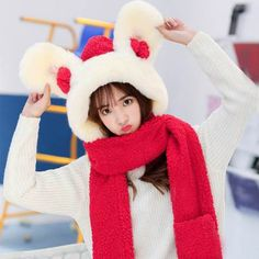 f0a74cefc4b Cute rabbit hat scarf and gloves all in one for girls bunny cosplay winter  hats