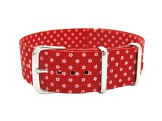 HNS Zulu G10 Double Printed Micro Floral Red BG Ballistic Nylon Watch Strap #HNS