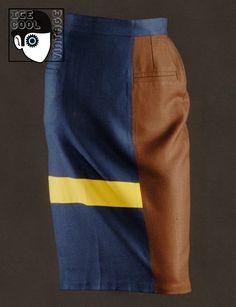 70s 'Lanvin - Paris' colour block linen skirt.