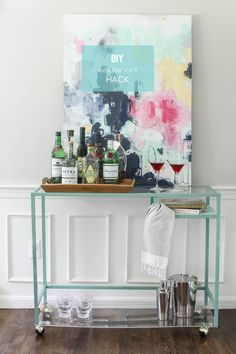 DIY Ikea Bar Cart Hack.  Read more - http://www.stylemepretty.com/living/2013/07/10/diy-ikea-bar-cart-hack/