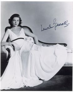 """Actress Lauren Bacall in a sleek white dress from the 1956 movie """"Written On The Wind"""" .. so simple of line, timeless."""