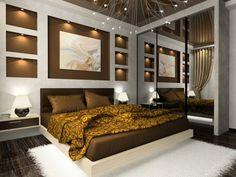 chambre moderne, lit bas, table de chevet assortie, cadre décoratif et suspension design