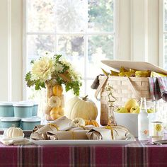 Beautiful Fall Football Game Party Spread. Add a little classy touches to game nights! Mini Pumpkins, Pumpkin Vase, Small Pumpkins, White Pumpkins, Fall Decorating, Decorating Your Home, Thanksgiving Decorations, Seasonal Decor, In Season Produce
