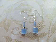 Pale blue/crystal rondelle earrings by JewelInfinityBeyond on Etsy