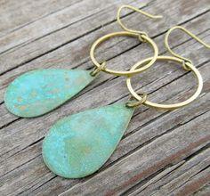Patina earrings mixed metal hoop