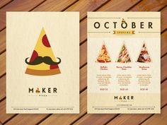 Maker Pizza. Logo, brochure and poster design.