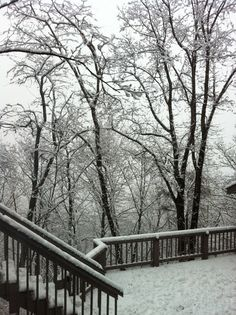 Winter snow on the deck at home
