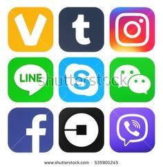 Kiev, Ukraine - November 26, 2016: Collection of popular social media new logos printed on paper: Facebook, ooVoo, Viber, Instagram, Line, Wechat, Skype, Tumblr and Uber