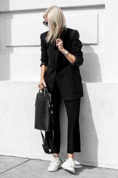 Black suiting with minimal accessories and fresh white sneakers #isabelmarant #aninebing #aritzia