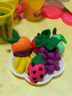 A platter of exotic playdough fruits!!!