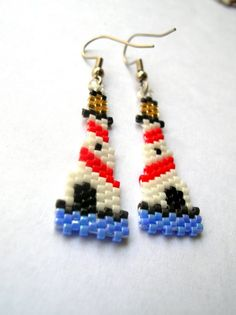 Lovely Lighthouse Beaded Dangle earrings by fantasybeader on Etsy