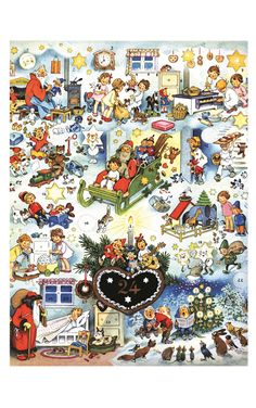 Features: -Santa with a variety of characters, some human, some heavenly and some fairy tale. -Korsch collection. -Color: Blue and red. Product Type: -Advent Calendars. Holiday Theme: -Yes. Seas
