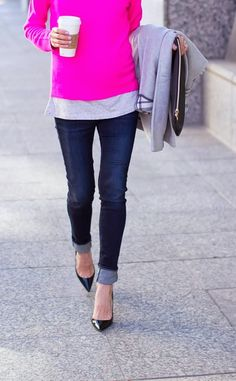 Casual...dark denim, cuffed, pointy kitten heel/flat, pink punch, layered, latte...love it