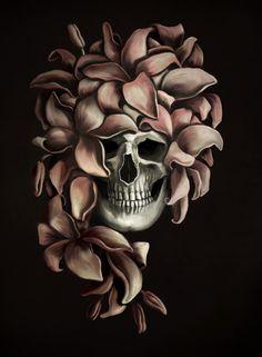 Illustration by Eeva Meltio My Works, Skull, Tattoos, Illustration, Art, Art Background, Tatuajes, Tattoo, Kunst