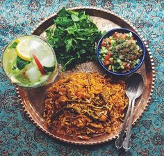 Loobia Polow (string beans & rice) with salad shirazi (tomato, cucumber& onion salad).