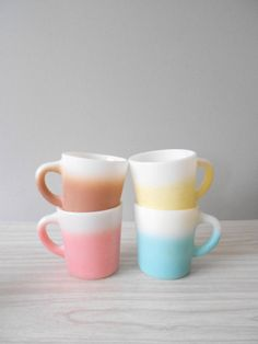pastel milk glass coffee mugs