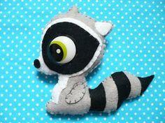 Handmade Brooch pin Raccoon grey blach retro eye by Lovely Mariquita - Handmade Fluffy Accessories, via Flickr