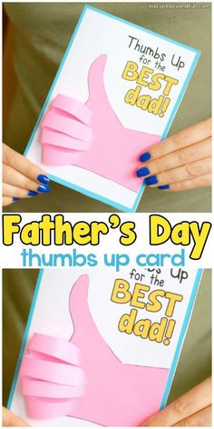 Father& Day Thumbs Up Card is part of Kids Crafts Ideas For Fathers Day We've got another homemade fathers day card idea ready for you and this one is a funny one too! Make a Father's Day Thumb - Diy Father's Day Gifts Easy, Father's Day Diy, Gifts For Dad, Diy Gifts, Teachers Day Gifts, Homemade Fathers Day Card, Fathers Day Art, Toddler Fathers Day Gifts, Fathers Gifts