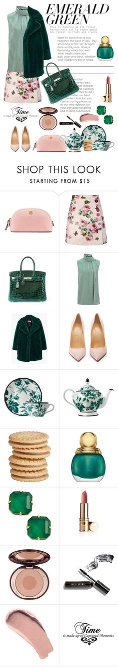 """Emerald Green"" by pomy22 ❤ liked on Polyvore featuring Tory Burch, Dolce&Gabbana, Hermès, Joseph, MANGO, Christian Louboutin, Gucci, Christian Dior, Loren Hope and Bobbi Brown Cosmetics"