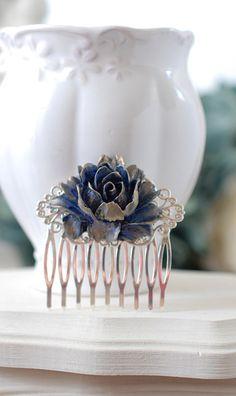 Bridal Hair Comb, Gold Navy Dark Blue Rose Silver Hair Comb, Floral Hair Accessory, Vintage Style Victorian Blue Wedding Filigree Hair Comb, by LeChaim, $18.50 www.etsy.com/shop/LeChaim