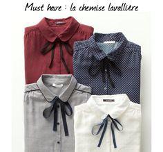 La chemise lavallière : l'indispensable mode de la rentrée >> http://www.taaora.fr/blog/post/chemise-lavalliere-a-nouer-au-col-tendance-rentree-2015