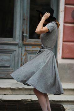 Women fashion vintage dress Chequered pattern by selenefashion
