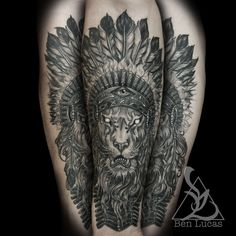 Lion with Indian headdress done at Eye of Jade Tattoo in Chico CA