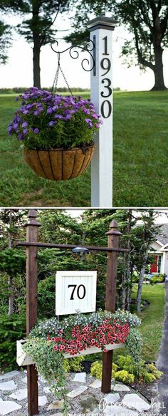 24 Low-Cost Ways To Power Up Your Homes Curb Appeal 2019 Did you realize that your address number sits too far from the road? If you want to change something you can recreate address sign with hanging planter at the corner of front yard that meets the dr Diy Garden, Home And Garden, Garden Ideas, Garden Arbor, Spring Garden, Garden Crafts, Diy Crafts, Front Yard Landscaping, Landscaping Ideas